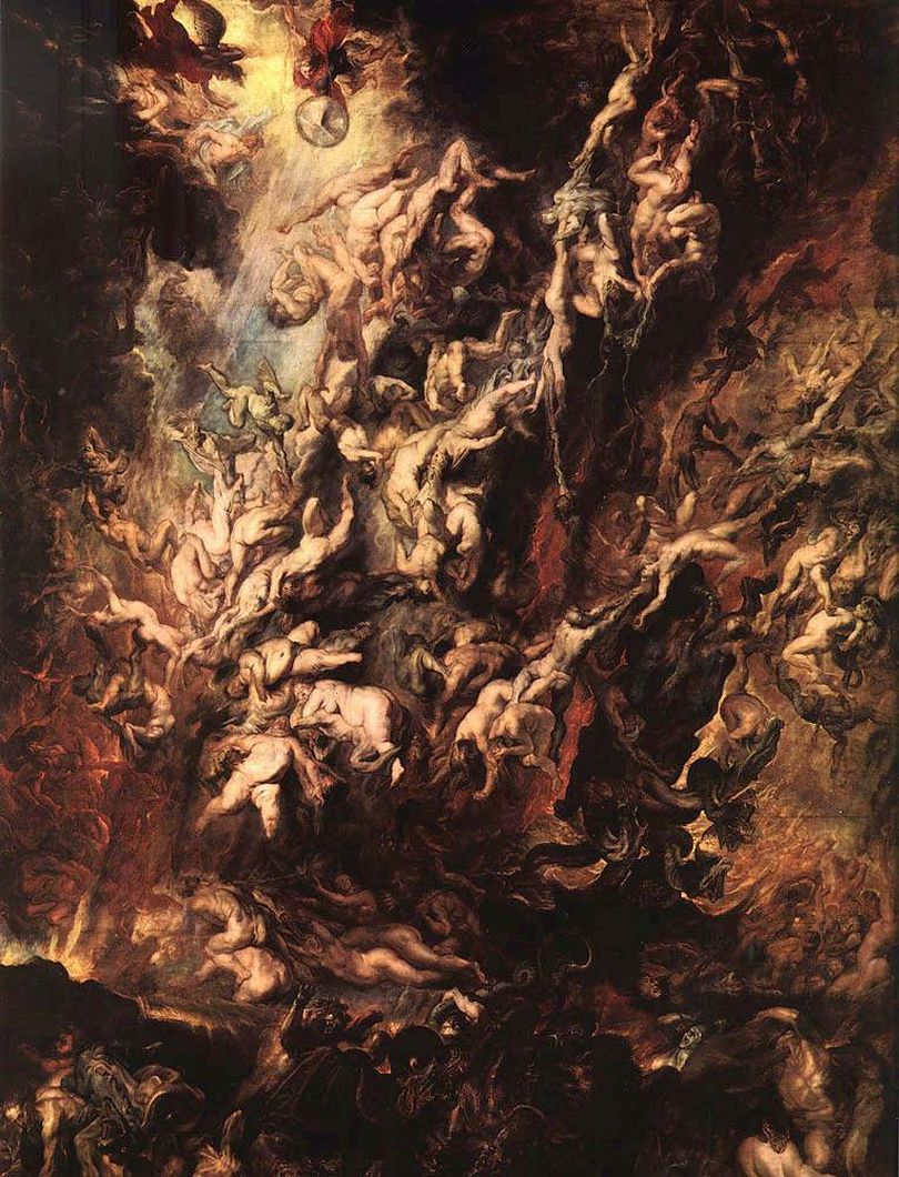 Rubens [Flemish Baroque Era Painter, 1577-1640] Fall of the Rebel Angels, 1618-1620 Oil on canvas Alte Pinakothek, Munich, Germany