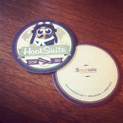 Coasters for our friends @hootsuite @hootclub #HootSX by clubcard http://instagr.am/p/Wk3sLNGMph/