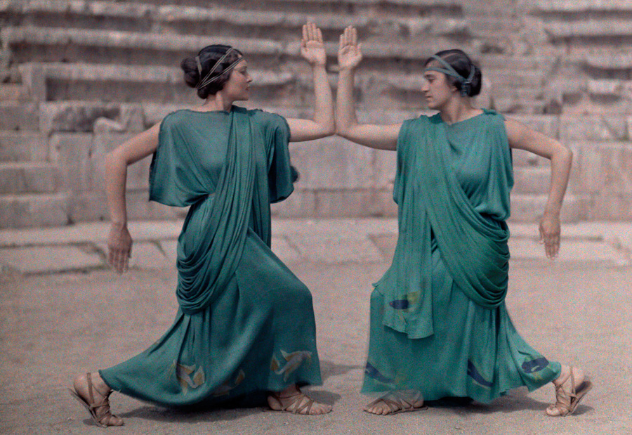 Two actresses at Delphi Festival adorn costumes of classical Greece, December 1930.Photograph by Maynard Owen Williams, National Geographic
