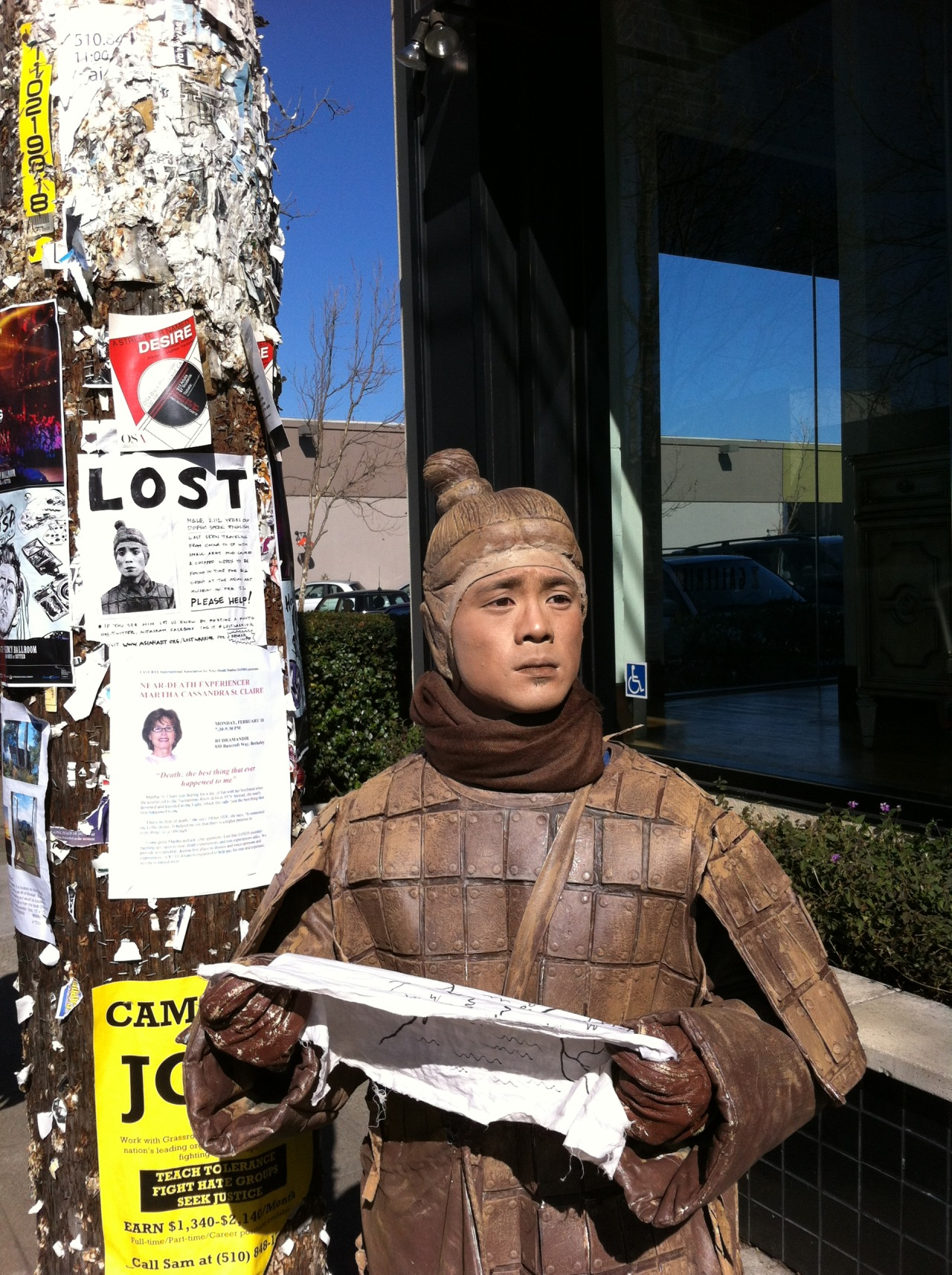 Since January 24, we've had a wayward terracotta warrior on the loose in the Bay Area. We've gotta find him in time for the opening of the exhibition, China's Terracotta Warriors: The First Emperor's Legacy at the Asian Art Museum on Feb 22 (gulp) — next Friday! If you see him, take a photo and post on Twitter and/or Instagram (your accounts must be set to public) and tag it #LOSTWARRIOR. If you have suggestions, tips, leads, please share on Twitter and tag it #LOSTWARRIOR. All posts from the public will show up on this interactive website. So far he's been in San Jose, Milpitas, Palo Alto, Mountain View, Menlo Park, Oakland, and Berkeley. Hopefully he'll find his way back to San Francisco this week.  Please check this site for the latest updates, photos, his whereabouts, etc:
