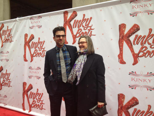 zachary quinto with cherry jones, kinky boots opening night
