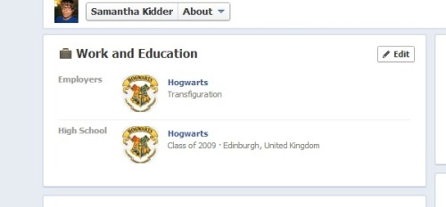 So I just updated my school and employer again! Found a more legit Hogwarts one. :)