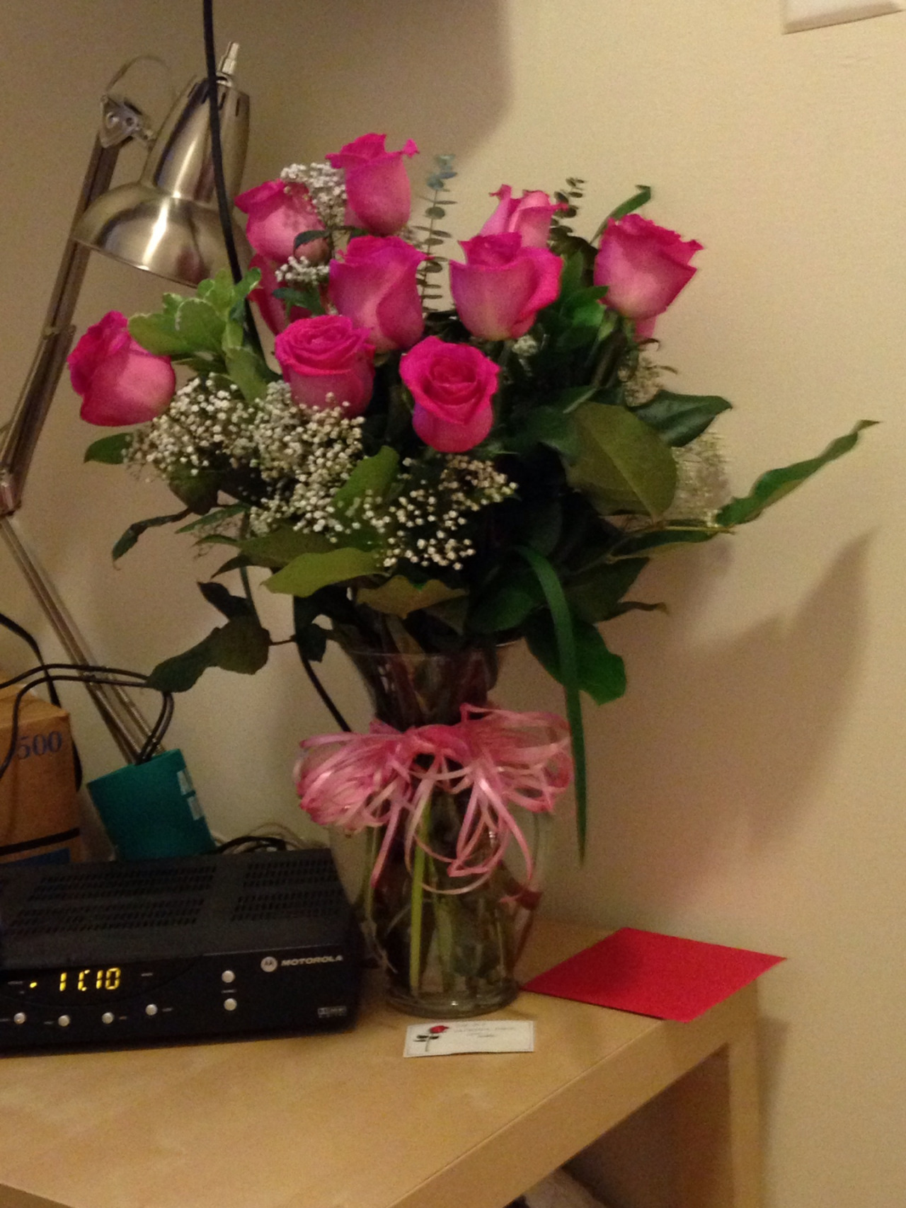 Beautiful roses from the wonderful boyfriend. He planned ahead and didn't want me to have to carry them to dinner on Valentines day and so that I could enjoy them all week. I love having a boyfriend that plans!