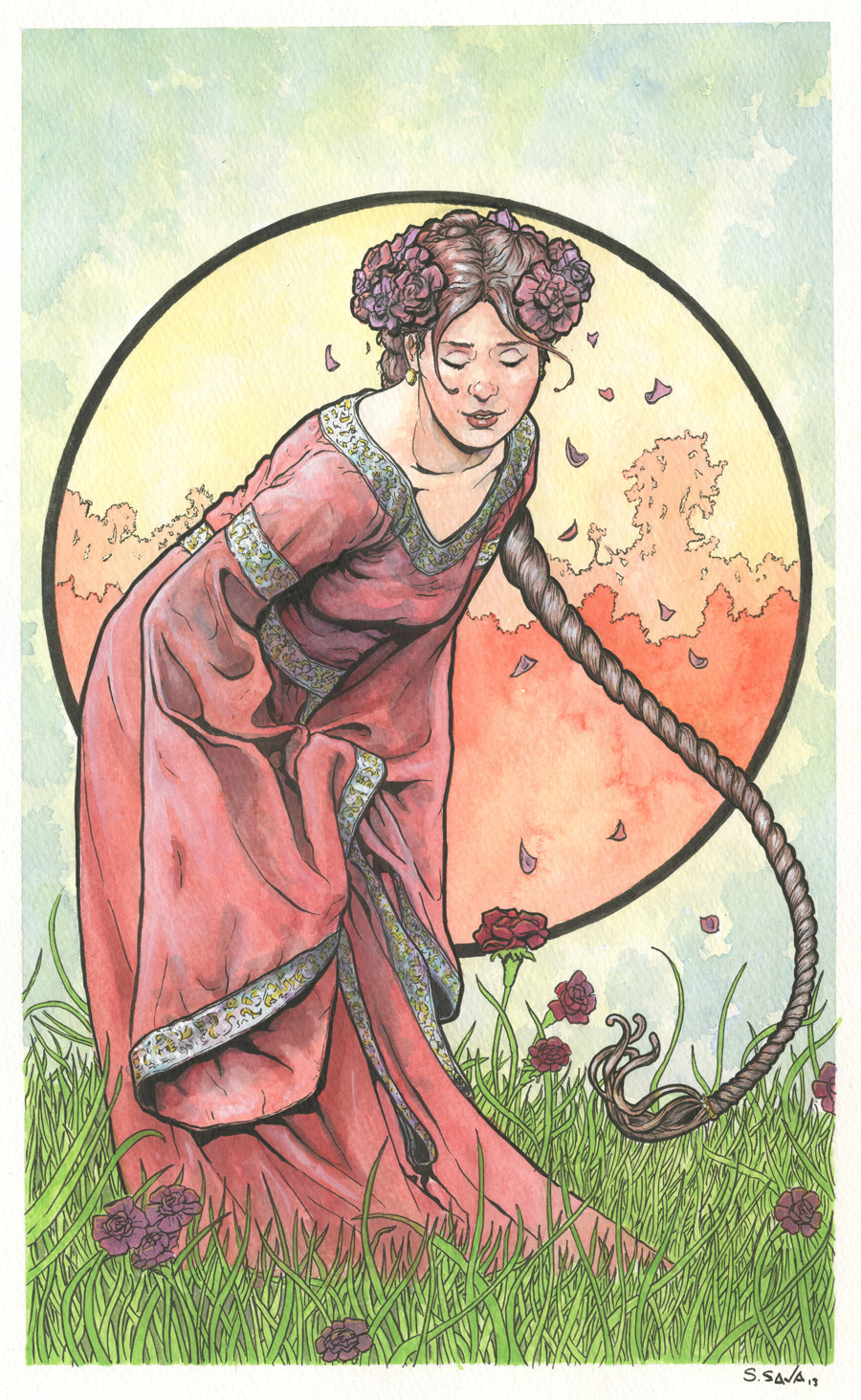 This is the 14th Art Nouveau/Alphonse Mucha inspired watercolor painting in a series I'm producing.The painting is on 12x18 inch Strathmore Cold Press watercolor paper. Done in watercolors and ink.Photo reference/inspiration from Magikstock (who temporarily has their stock photos offline)…http://magikstock.deviantart.com/Original paintings can be purchased here…http://www.etsy.com/shop/ScottChristianSava?section_id=11821287and Limited Edition Prints can be purchased here…http://www.etsy.com/shop/ScottChristianSava?section_id=11821297Thanks for looking!Scott
