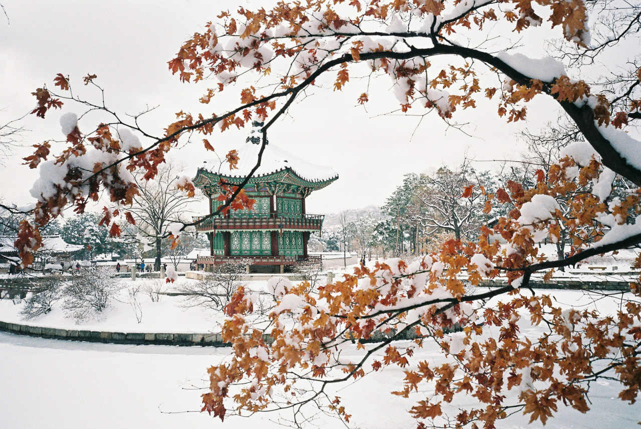 """Pavilion of Far-Reaching Fragrance"" - Hyangwonjeong Pavilion in winter, Seoul"