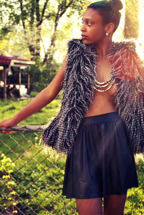 blackfashion:  Fur Vest(Thrift), Leather Skrit(American Apparel) Alexis, 17, Kansas City, Mo http://int3resting.tumblr.com/ Photographer: Devon Lee