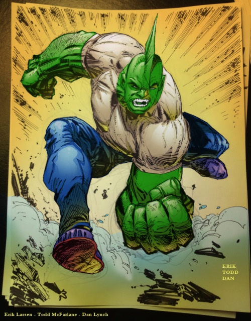 Malcolm Dragon from Erik Larsen's Savage Dragon.Pencils by Erik LarsenInks by Erik Larsen & Todd McFarlaneColours by Dan Lynch (me)