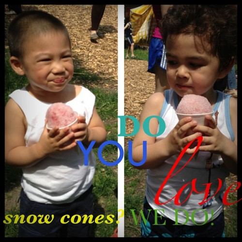 On a hot day! We love Cherry Sno Cones from #josnowsyrups :) #snowcone #yummy #hotday #friends #kids