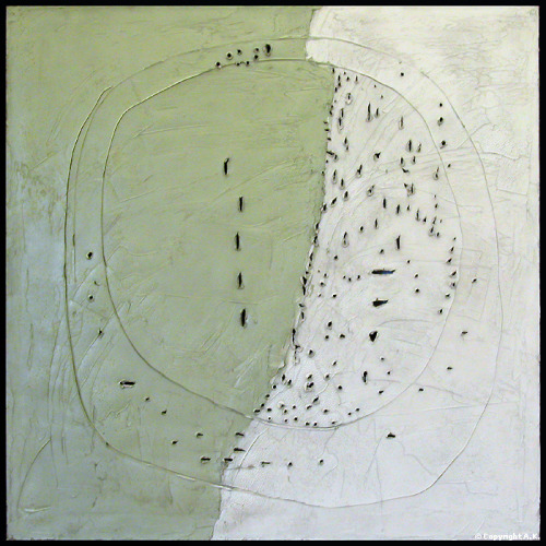 Painting: Lucio Fontana, Concetto spaziale (oil on canvas) 1977 via workman & cavetocanvas