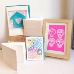 Limited edition paper products now up in the shop! #handmade #printmaking #sugarskull #paper