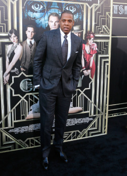 Jay-Z attending the premiere of The Great Gastby in New York City on Wednesday night. Hov executive-produced the film's score, along with The Bullitts.