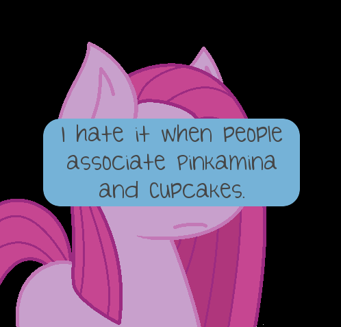 I hate it when people associate Pinkamina and Cupcakes. I don't know why, but it absolutely irritates me when fans catch on to a thing that wasn't the author's intentions (please note that this is only for literature). Cupcakes was published months BEFORE the party of one episode, and was really extroverted and happy in the fic. It makes no sense to me why so many fans just assumed she was in her Pinkamina phase when it was painfully obvious she was genuinely making the best of her situation, and not coping at all.