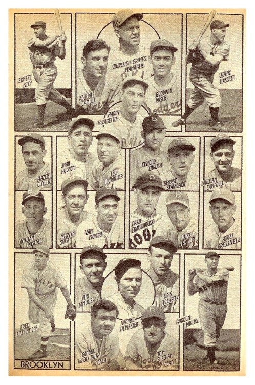 1938 Brooklyn Dodgers Team CompositeFeaturing George (Babe) Ruth - Coach. Seems odd to list his name that way, although 'Kiki' Cuyler is listed by his formal name Hazen and 'Cookie' Lavagetto as Harry.