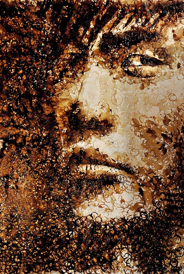 foxmouth:  Coffee Stain Portrait of Jay Chou by Hong Yi