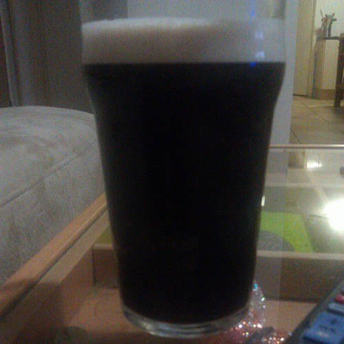 A pint of #guinness and #metalocalypse is a good mix