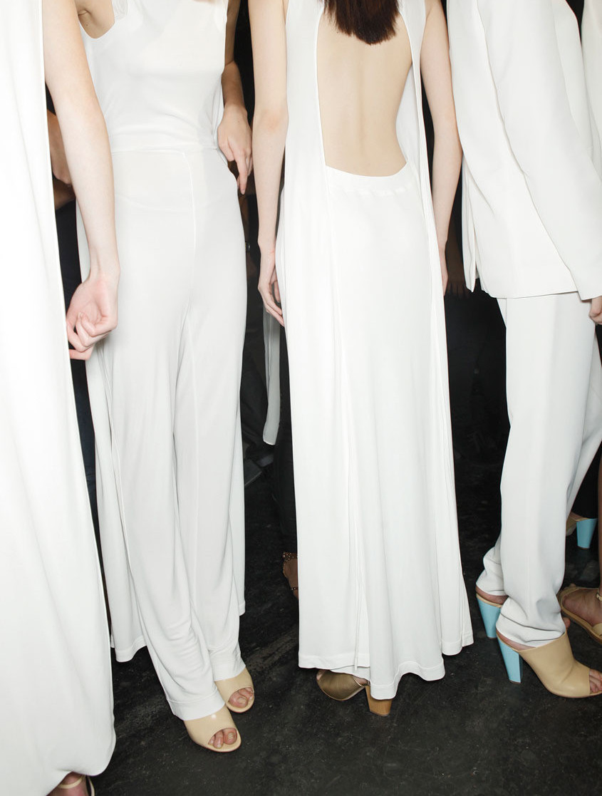 backstage @ Hussein Chalayan Spring 2012.