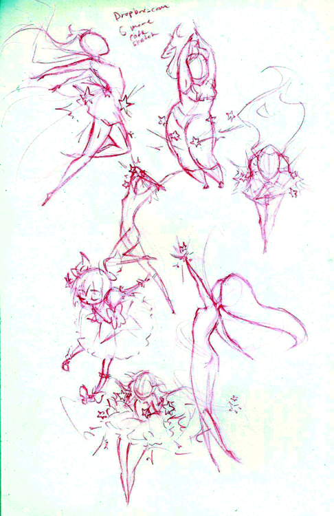 Poor quality scan of magical girl transformation gestures because I have to practice gesturing more = v = … this was fun…  It started off with that madoka… doodle…