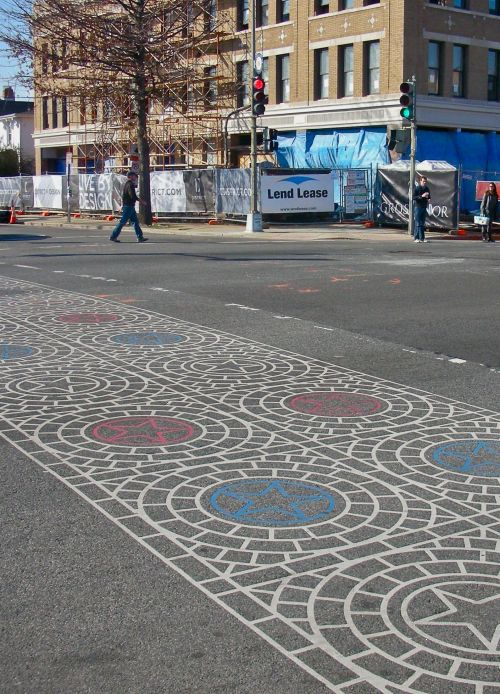 eozberk:  Red, White, and Blue. Decorative crosswalk on 14th St NW, Washington DC.