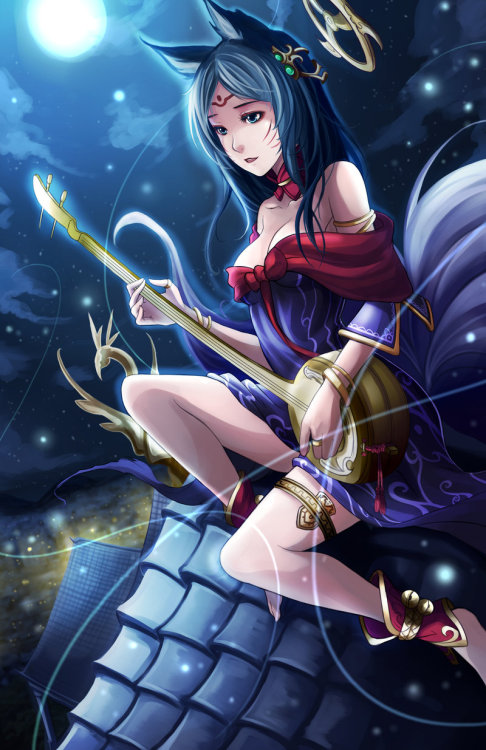 u-wanna-play-2:  League of Legends - Moonlight Ahri by *El-Seluvia