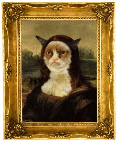 "botlking:  ♪♫ Whoa, Mona Lisa ~ I'd pay to see you frown! ♪♫ Grumpy Cat says, ""Pay Up, Sucker!"" (Click link for The Ballad of Mona Lisa ♪♫)"