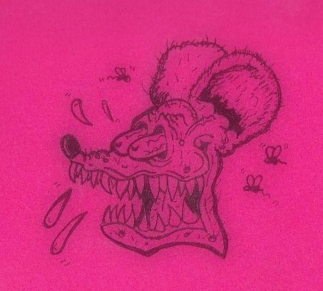 I drew Rat Fink on some pink paper. :3