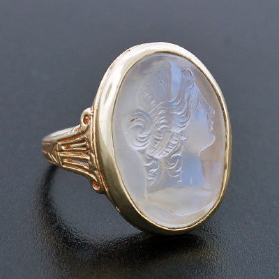 Art Nouveau 14kt Carved Woman Moonstone Ring