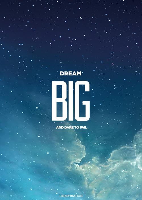 linxspiration:  Dream big and dare to fail.