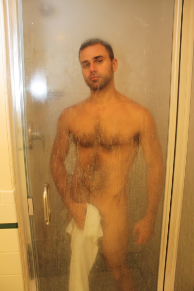 After someone took this pic, I was like, why did I have a towel IN the shower?  But whatever.  (Conner Habib/me)