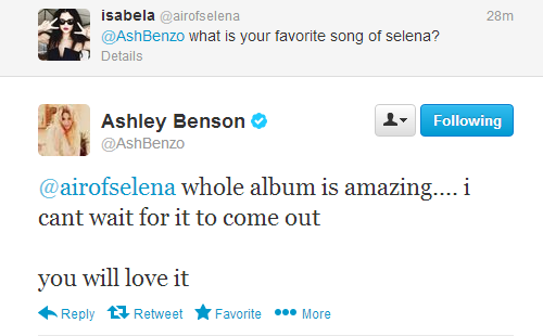 selgomez-news:  Ashley Benson answers a fan question about Selena's upcoming album