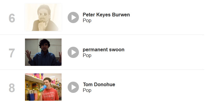 ranked #7 on the revernation pop charts in keene, new hampshire! this is a good chance to peep out the competition. very intimidating.