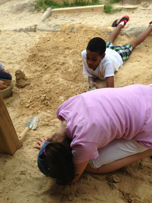 When I picked Sylvia up she and a friend were making a tunnel in the sand. They were so determined to finish it. I gathered her stuff and left them to it. When they finished they held hands and jumped on it to see if they could break it. I wish I'd gotten a picture of that. I wonder how much longer Sylvia will have such an easy relationship with boys. Not that they don't drive her crazy sometimes, but how long will she be able to just work together and innocently clasp hands and be joyful in success with no baggage or fears. For a while I hope. Forever maybe.