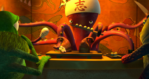 disneypixar:  There's a lot going on in this film still: monster sushi, wayward eyeballs, and even a Pixar Easter egg. Can you spot it?
