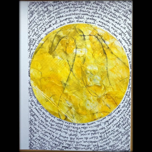 For the Get Messy Season of Finishing, from a project that seems to have flopped. Yellow. Collage, gesso, ArtGraf black carbon and white graphite, acrylic ink. #getmessyartjournal#getmessyart#gmseasonoffinishing#artjournal#artjournaling#visualjournal#visualjournaling#collage#artjournalpage#artjournals#artistsoninstagram#visualjournals#gesso#acrylicink#acrylicinks#artgraf#artgrafblackcarbon