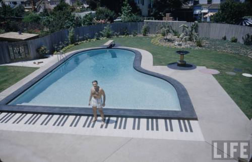 electronicsquid:  Liberace and his piano-shaped pool (Loomis Dean. 1954)