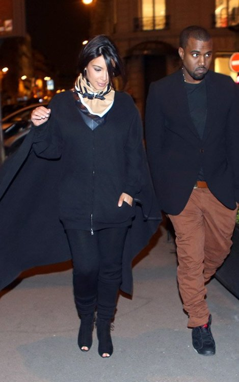 Hot! or Hmm… Kim Kardashian's Céline Shopping Céline Fall 2012 Scarf and Maison Martin Margiela Draped Jacket