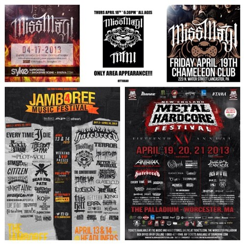 Less than a week until we hit the road for @thejamboreeohio, @moshfest, and 3 headlining  gigs: 4/14 Toledo, OH 4/17 Springfield, VA 4/18 Baltimore, MD 4/19 Lancaster, PA 4/21 Worcester, MA Ticket links: Missmayimusic.com  #missmayi