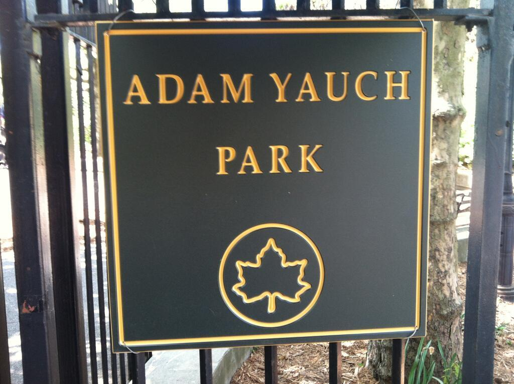 newsweek:  A Brooklyn Heights playground was renamed to Adam Yauch Park today, in honor of the dearly departed Beastie Boy. [via]