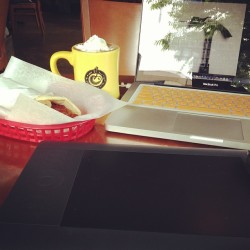 Morning breakfast and hot choco + editing images  (at Cherry Street Coffee House)