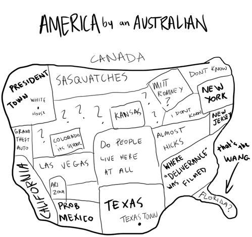 tastefullyoffensive:  America as seen by an Australian[via]  pretty accurate if I do say so myself.