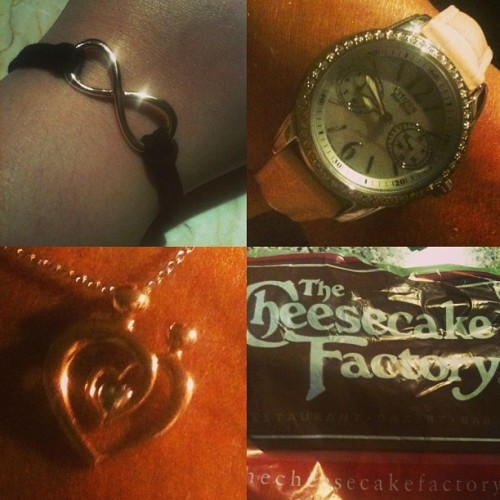 Our matching infinity bracelets, her amazing watch from @budda413 the necklace I got her and our amazing dinner at the Cheesecake Factory. It's all about my mommy 😘😊❤