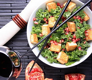 findvegan:  Raw Kale with Tofu Croutons and Pom-Sesame dressing!