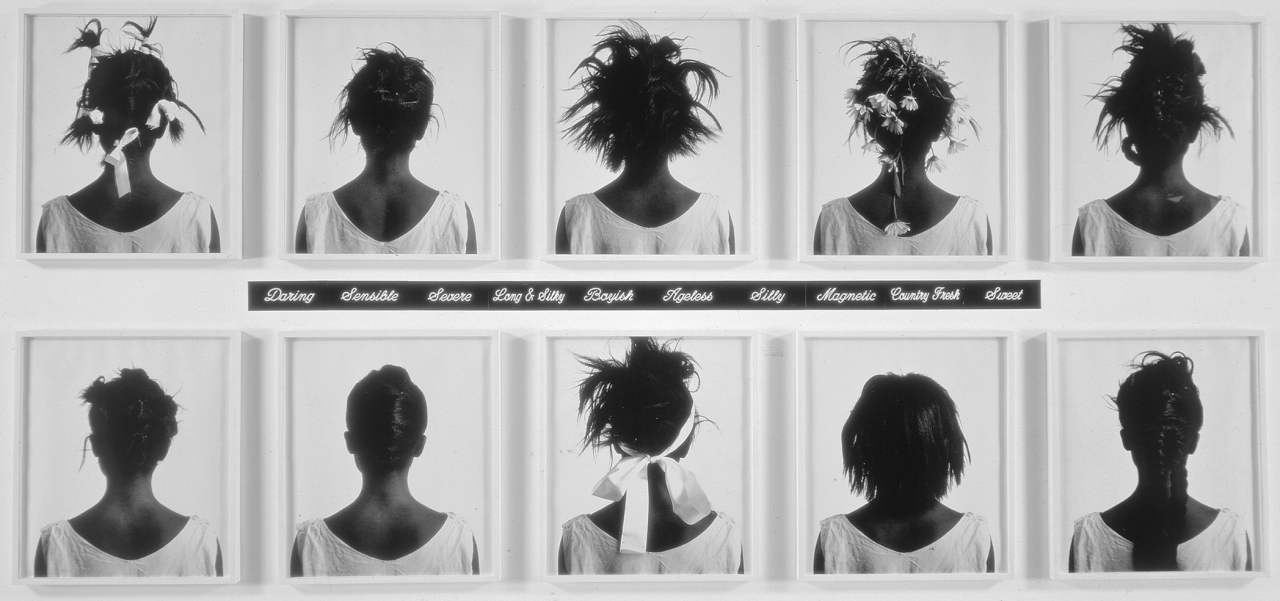 sonnetfortythree:  Lorna Simpson, Stereo Styles, 1988. 10 black-and-white polaroid prints and 10 engraved plastic plaques. Click to enlarge.