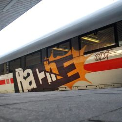 spraydaily:Rache from DSF Crew on a German Ice Train!Photo Bunteshamburg.tumblr.com#graffiti #SprayDaily #граффити #Grafiti #DSF