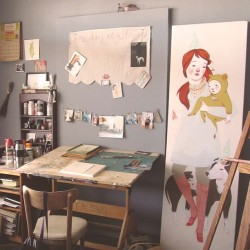 rebeccagreenillustration:  Work Space.  drool worthy space and work