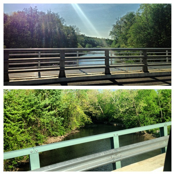 #picstitch my #view of the #cuyahoga #river every #morning on my #drive into #work in #munroefalls #ohio #spring #nature #trees #bridge #nature #beauty #water