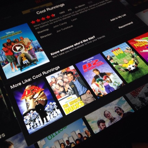 So, like, I knew these were on Netflix. But seeing them all together overwhelmed me. #MightyDucks #CoolRunnings