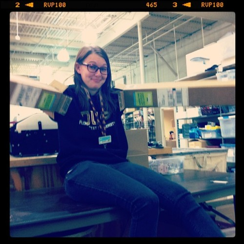 melisebrown9:  She's got boxes for arms! More warehouse #Shenanigans! #TheCoolest #ILoveHerSoMuch #WhatIsThatFace?  uhhhh of course we do work at bills… this is really important stuff right here