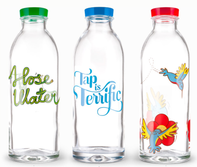 Designer glass water bottles by Mason Gentry of FaucetFace. A portion of the sales goes to the manufacturing of water filters that are donated to families in rural India.