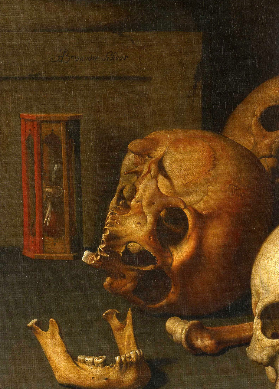 arsauroprior:  Detail from Aelbert van der Schoor, Still Life with Skulls, c. 1650.