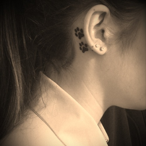 My first tattoo, two dog paw prints behind my right ear. Done at New World Tattoo in Surrey, B.C. by Andrea Hart. Animals are my biggest passion, but I've been working with dogs since I was little. I am looking forward to future tattoos!